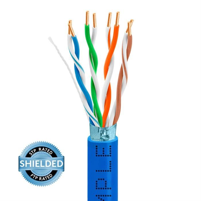 STP/FTP CAT5e 1000ft Bare Copper LAN Cable 24AWG Bulk Network Wire, Blue