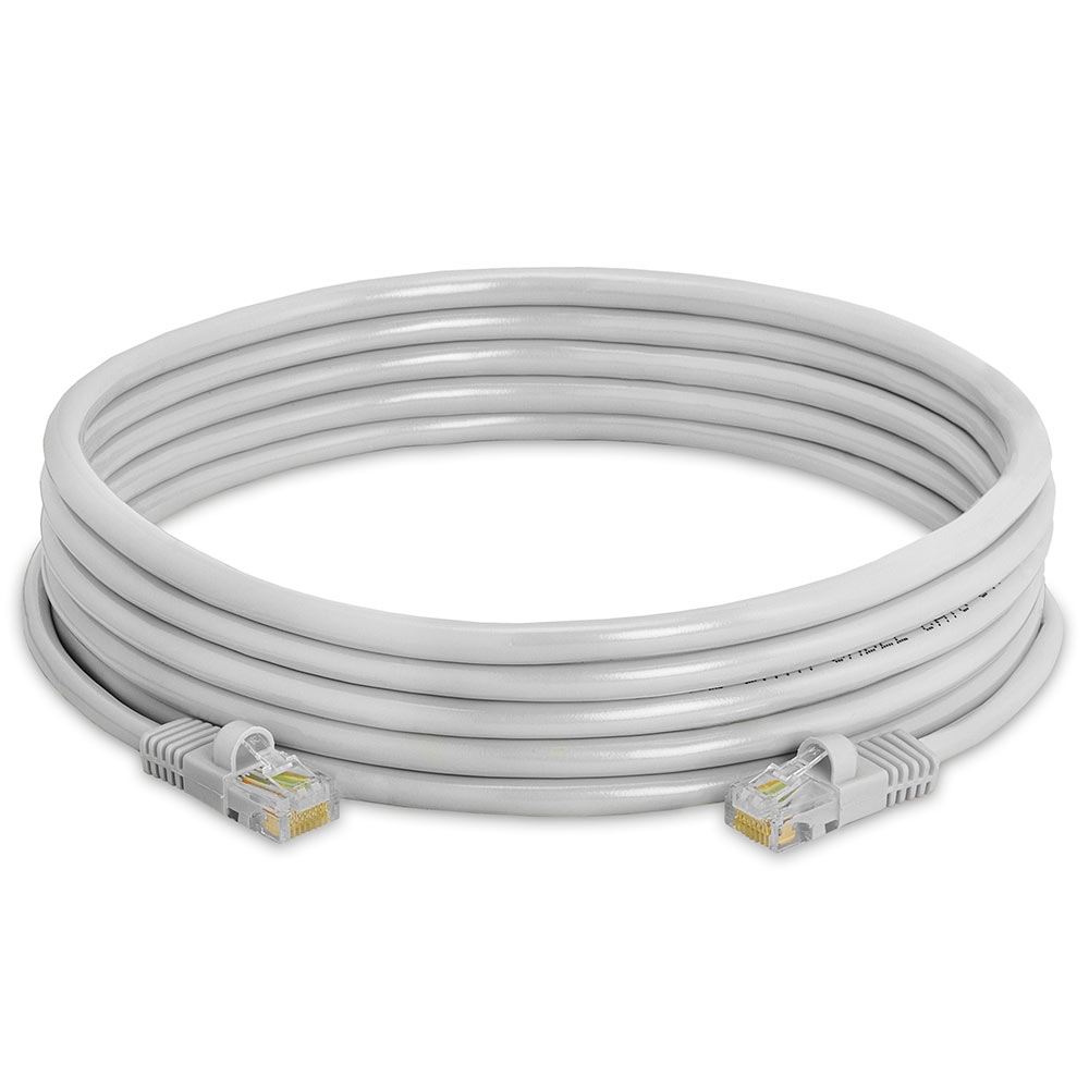Gray Cat5e RJ45 molded strain relief Ethernet Network Cable – 15ft