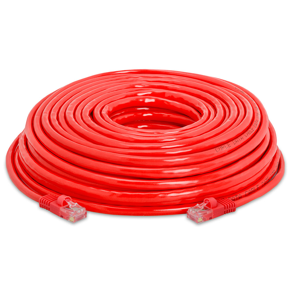 12 Ft Red Made in USA, RJ45 Computer Networking Cord Cat5e Ethernet Patch Cable