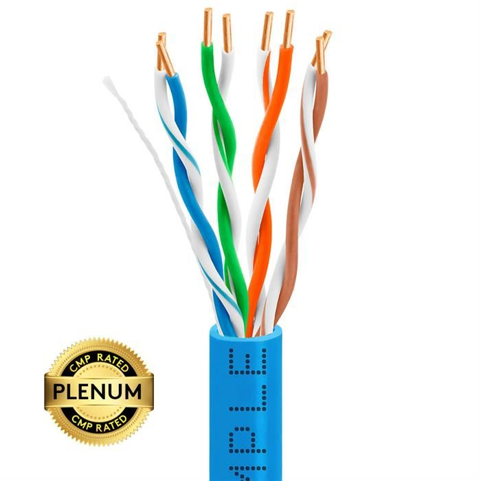 Plenum CAT5e 1000ft Pure Bare Copper LAN Cable 24AWG Bulk Network Wire, Blue