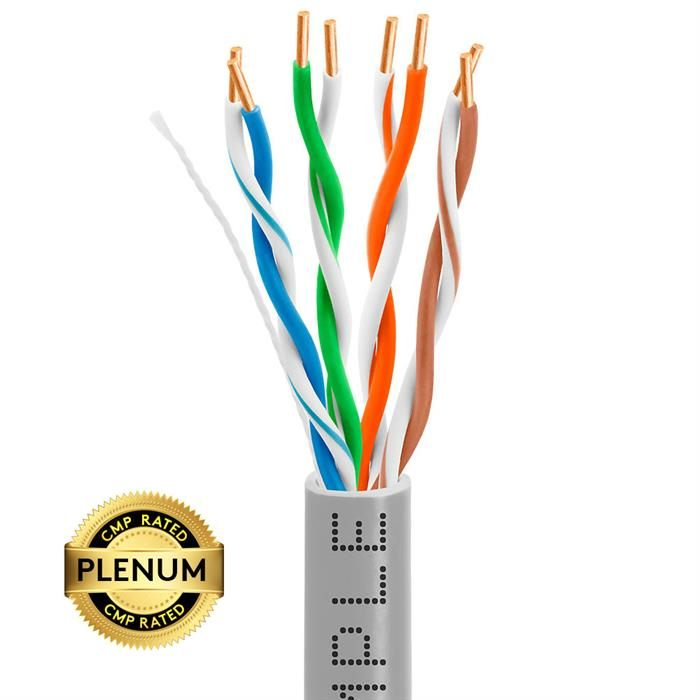 Plenum CAT5e 1000ft Pure Bare Copper LAN Cable 24AWG Bulk Network Wire, Gray