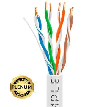 Plenum CAT5e 1000ft Pure Bare Copper LAN Cable 24AWG Bulk Network Wire, White