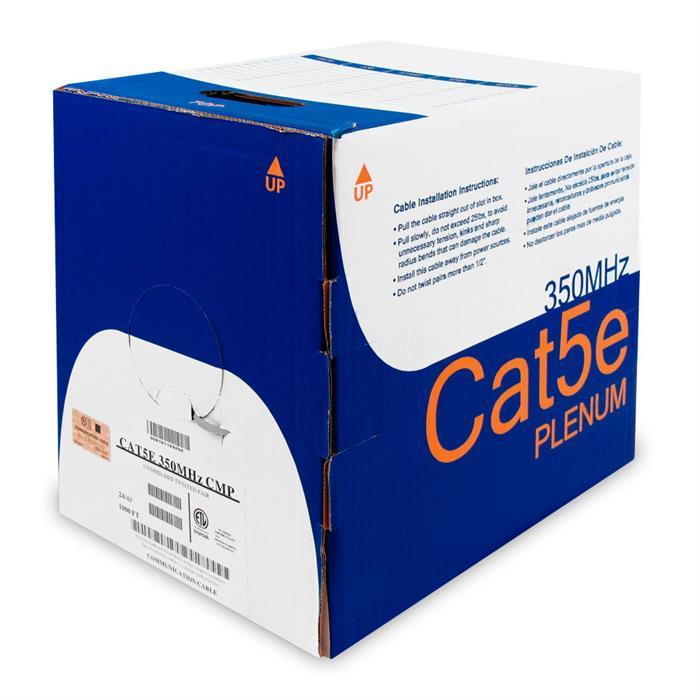 CMP Rated Plenum 100% Bare Copper Cat5e Gray Cable 1000 Feet Box