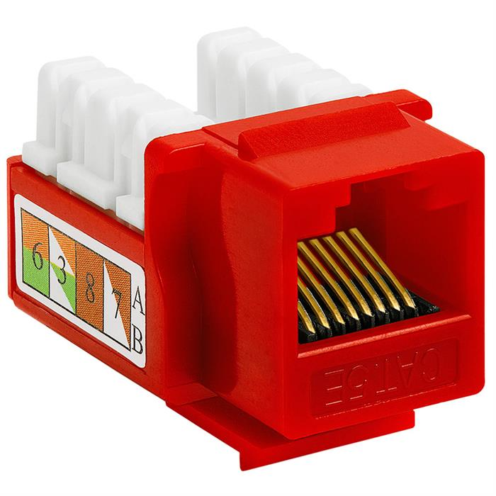 Cat5e Punch Down Keystone Jack - Red
