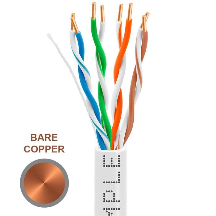 CAT5e 1000 Feet Bare Copper UTP Ethernet Cable 24AWG Bulk Network Wire, White
