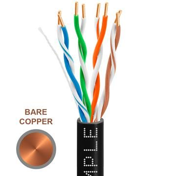 CAT5e 1000 Feet Bare Copper UTP Ethernet Cable 24AWG Bulk Network Wire, Black