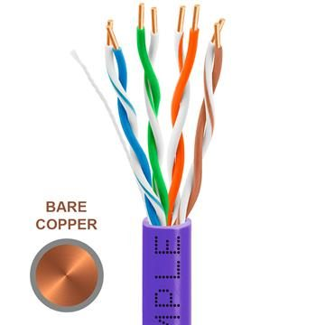 CAT5e 1000 Feet Bare Copper UTP Ethernet Cable 24AWG Bulk Network Wire, Purple