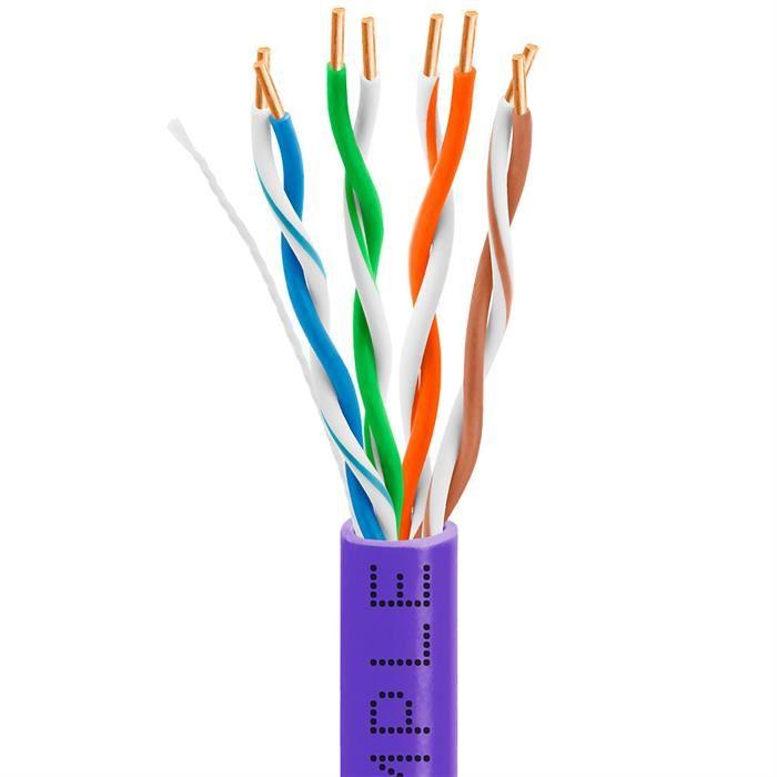 Cat5e Bulk Cable Bare Copper 1000 Feet Purple