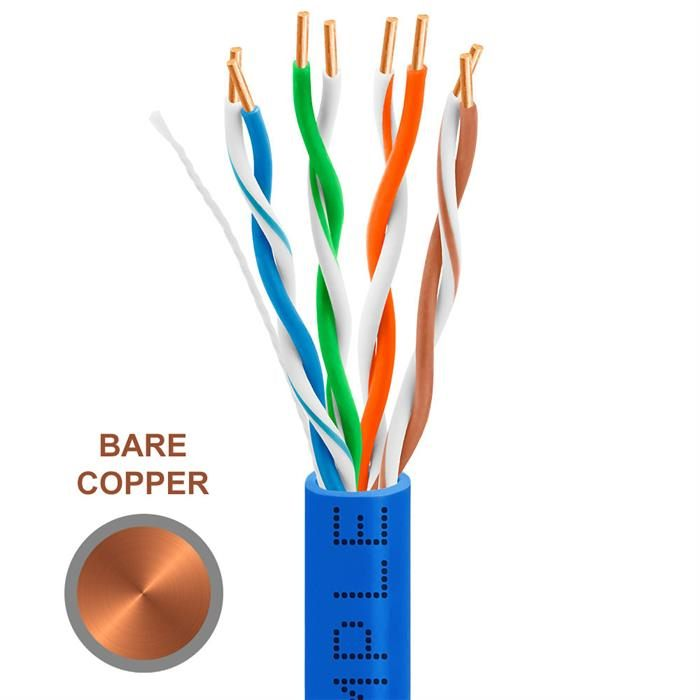 CAT5e 1000 Feet Bare Copper UTP Ethernet Cable 24AWG Bulk Network Wire, Blue