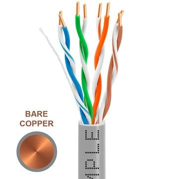 CAT5e 1000 Feet Bare Copper UTP Ethernet Cable 24AWG Bulk Network Wire, Gray