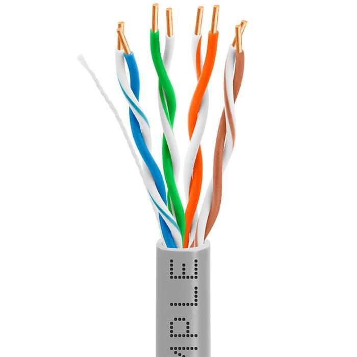 Cat5e Bulk In-Wall Cable 24AWG Bare Copper 350MHz 1000 Feet Gray