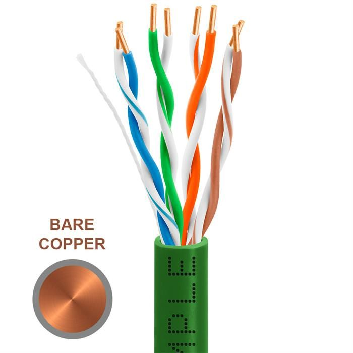 CAT5e 1000 Feet Bare Copper UTP Ethernet Cable 24AWG Bulk Network Wire, Green