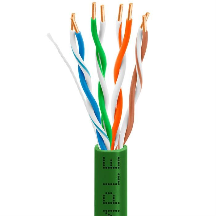 Cat5e Bulk In-Wall Cable 24AWG Bare Copper 350MHz 1000 Feet Green