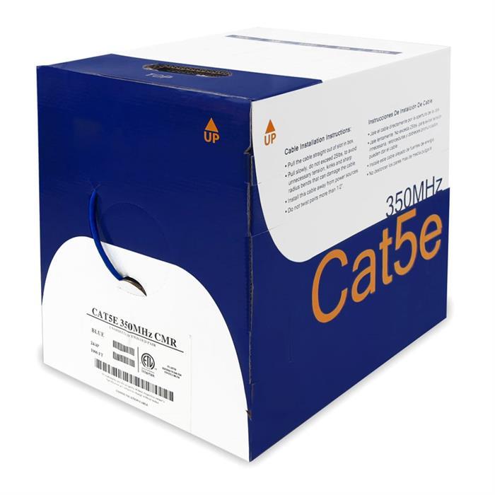 Bare Copper UTP CMR Cat5e Blue Cable 1000ft Box