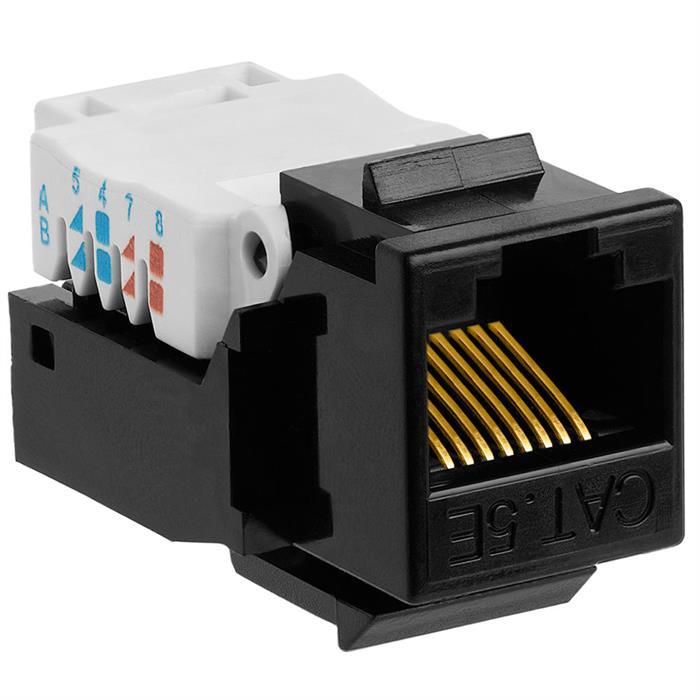 Cat5e RJ-45 Tooless Keystone Jack - Black
