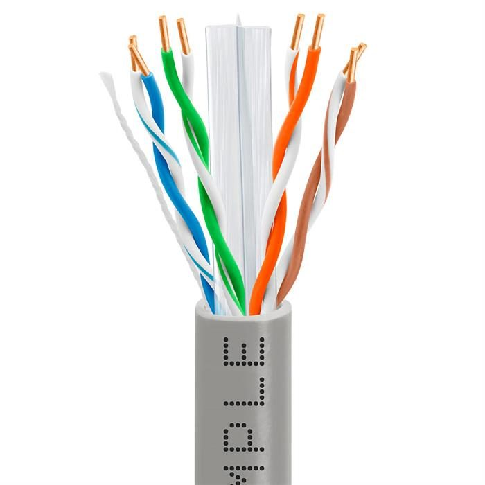 CAT6 1000 Feet CCA Ethernet Cable 23AWG Bulk Network Wire, Gray