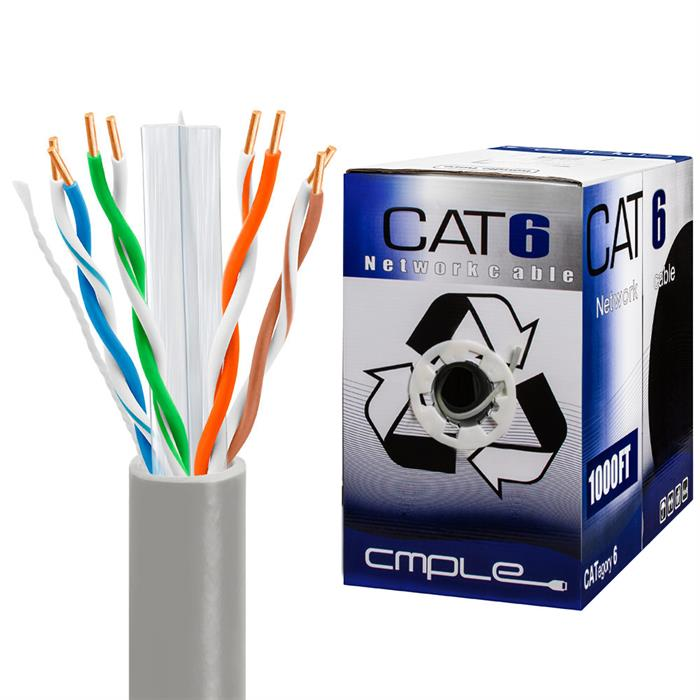 550Mhz CCA Cat6 Grey Cable 1000ft Box