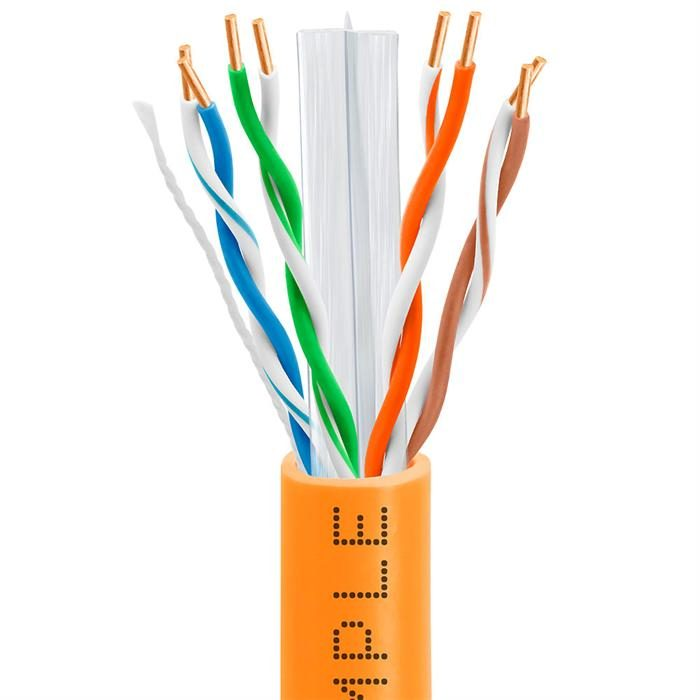 CAT6 CCA Ethernet Cable 23AWG Bulk Network Wire, 1000 Feet Orange