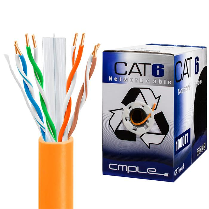 550Mhz CCA Cat6 Orange Cable 1000ft Box