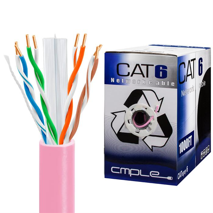 550Mhz CCA Cat6 Pink Cable 1000ft Box