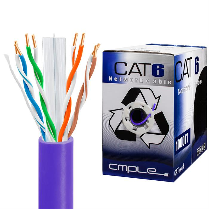 550Mhz CCA Cat6 Purple Cable 1000ft Box