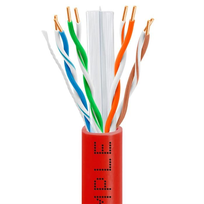 CAT6 CCA Ethernet Cable 23AWG Bulk Network Wire, 1000 Feet Red