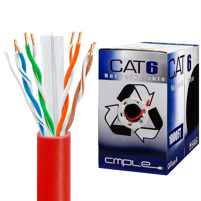 550Mhz CCA Cat6 Red Cable 1000ft Box