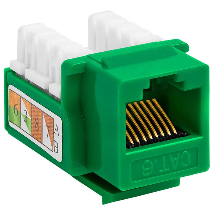 Cat6 Punch Down Keystone Jack - Green