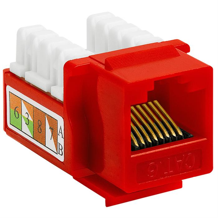 Cat6 Punch Down Keystone Jack - Red