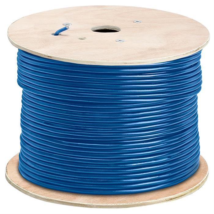 Shielded Cat5e Bulk Ethernet Cable Bare Copper 350MHz 1000 Feet Blue