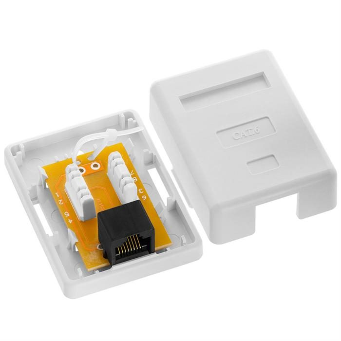 Cmple - 1 Port Cat6 Surface Mount Box, RJ45 Cat6 Single Port Surface Mount Box for Ethernet Cables, Screws and Double-Side Tape Included, Easy Mount – White