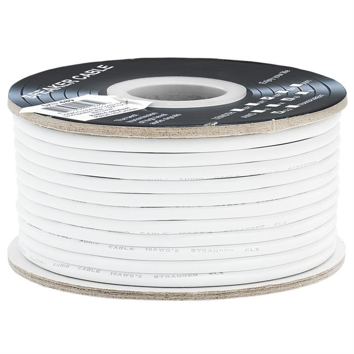 Cmple - 100FT 16AWG Speaker Wire Cable with 2 Conductor Speaker Cable (CCA) Copper Clad Aluminum CL2 Rated In-Wall Speaker Wire for Home Theater & Car Audio - 100 Feet, White