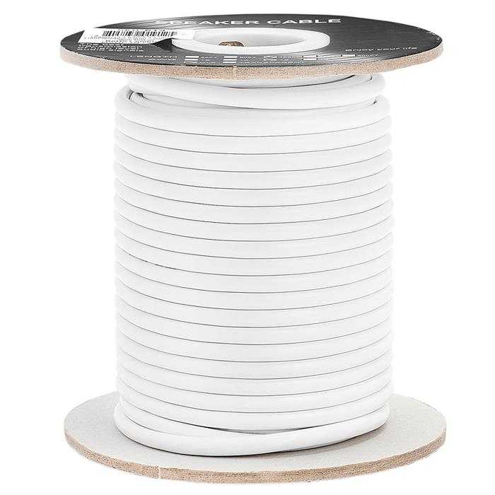 Cmple - 100FT 16AWG Speaker Wire Cable with 4 Conductor Speaker Cable (CCA) Copper Clad Aluminum CL2 Rated In-Wall Speaker Wire for Home Theater & Car Audio - 100 Feet, White