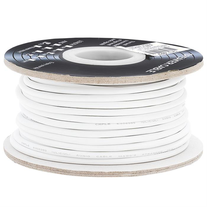 Cmple - 100FT 18AWG Speaker Wire Cable with 2 Conductor Speaker Cable (CCA) Copper Clad Aluminum CL2 Rated In-Wall Speaker Wire for Home Theater & Car Audio - 100 Feet, White