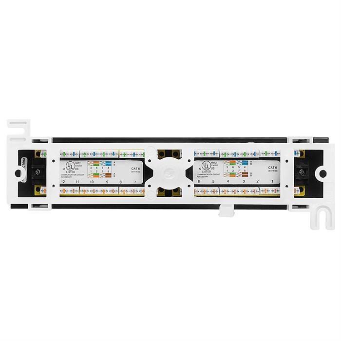 Cmple - 12 Port Cat 6 Network Patch Panel Compact Vertical Wall Mount Category 6 Bracket Surface 110 Type (568A/B Compatible)