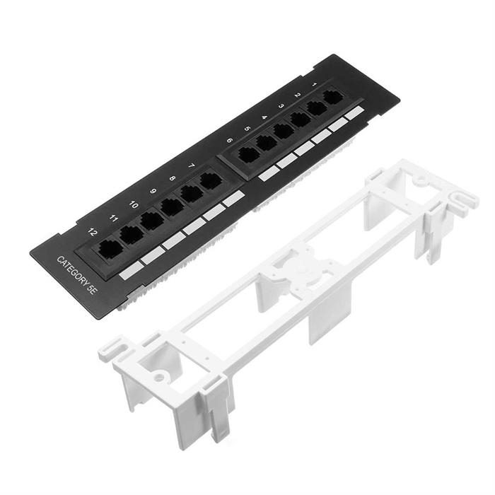 Cmple – 12 Port Cat5e, Cat 5 Vertical Mini Patch Panel Network Wall Mount Punchdown Category 5e Bracket Surface 110 Type (568A/B Compatible)