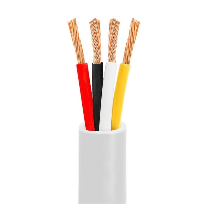 Cmple - 14AWG Speaker Wire Cable with 4 Conductor Speaker Cable (CCA) Copper Clad Aluminum CL2 Rated In-Wall Speaker Wire - 100 Feet, White