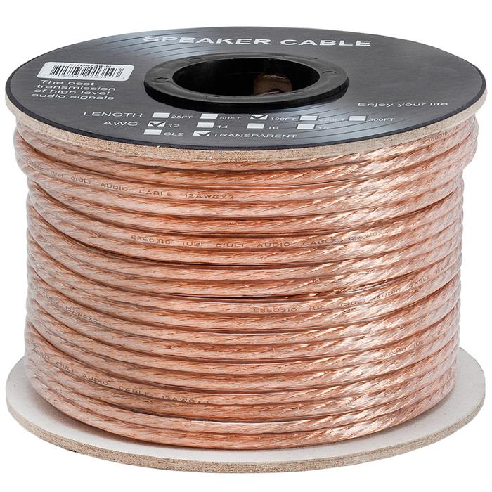 Cmple - 2 Conductor 12AWG Speaker Wire for Home Theater System, Amplifier, Car Audio Speaker Cable - 100 Feet, Clear