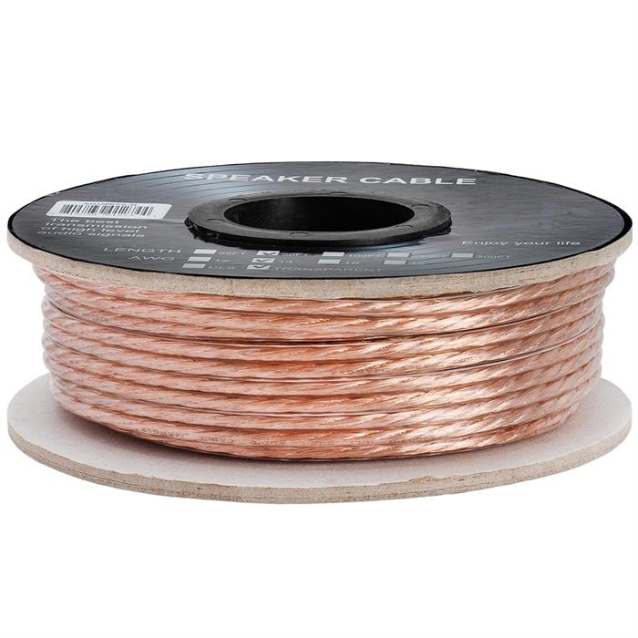 Cmple - 2 Conductor 14AWG Speaker Wire for Home Theater System, Amplifier, Car Audio Speaker Cable - 50 Feet, Clear