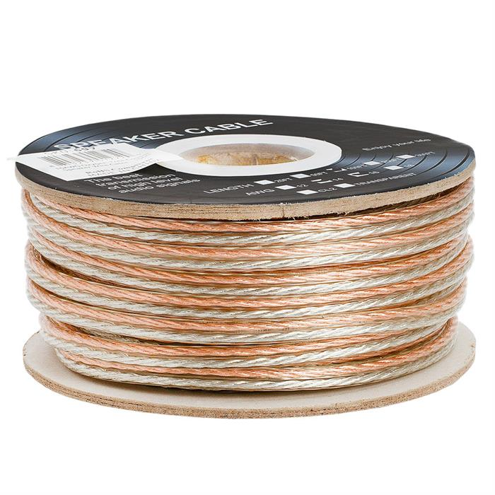 Cmple - 2 Conductor 16AWG Speaker Wire for Home Theater System, Amplifier, Car Audio Speaker Cable - 100 Feet, Clear