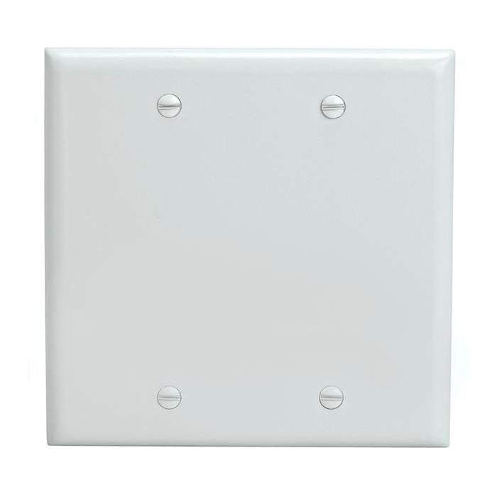 Cmple - 2 Gang Blank Wall Plate, Standard Size, Polycarbonate Thermoplastic Panel GFCI Wall Plate with Screws - White