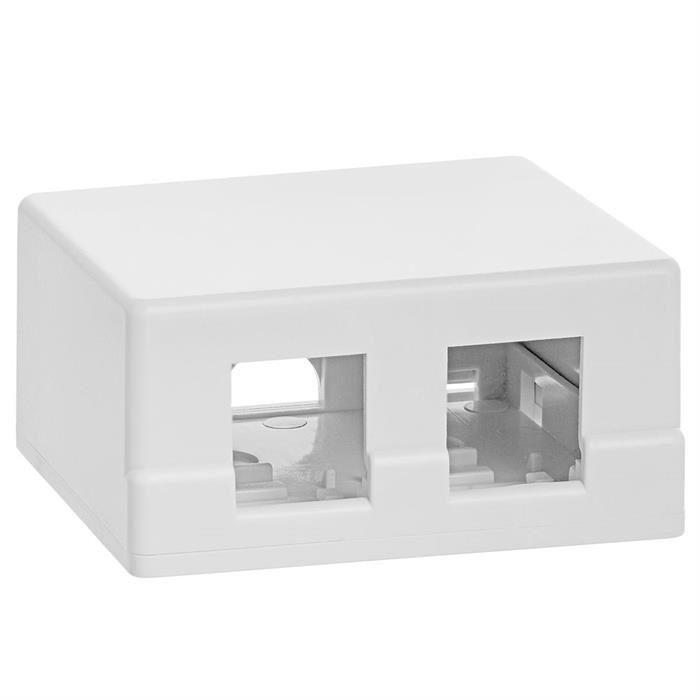 2 Port Keystone Jack Surface Mount Box - White