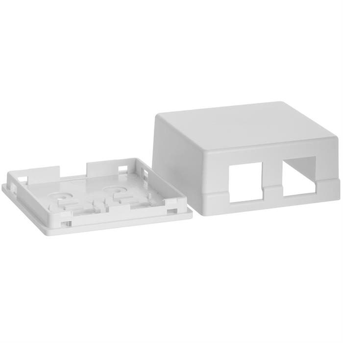 Cmple - 2 Port Keystone Jack Surface Mount Box, Dual Port Surface Mount Box for Network, Dual Hole Keystone Jack for RJ45 Cat5e/Cat6, Screws and Double-Side Tape Included, Easy Mount - White