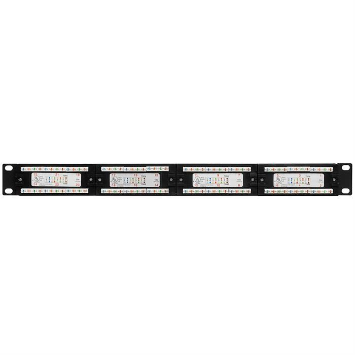 Cmple - 24 Port Enhanced Cat5e Network Patch Panel, Cat 5 Rackmount Wall Mount Category 5e Bracket Surface 110 Type (568A/B Compatible)