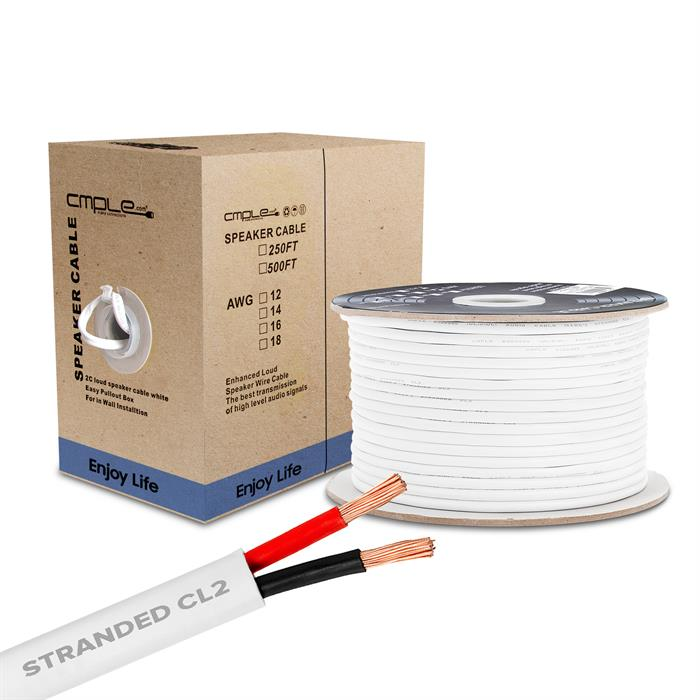 Cmple - 250FT 12AWG Speaker Wire Cable with 2 Conductor Speaker Cable (CCA) Copper Clad Aluminum CL2 Rated In-Wall Speaker Wire for Home Theater & Car Audio - 250 Feet, White