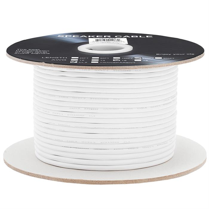 Cmple - 250FT 16AWG Speaker Wire Cable with 2 Conductor Speaker Cable (CCA) Copper Clad Aluminum CL2 Rated In-Wall Speaker Wire for Home Theater & Car Audio - 250 Feet, White