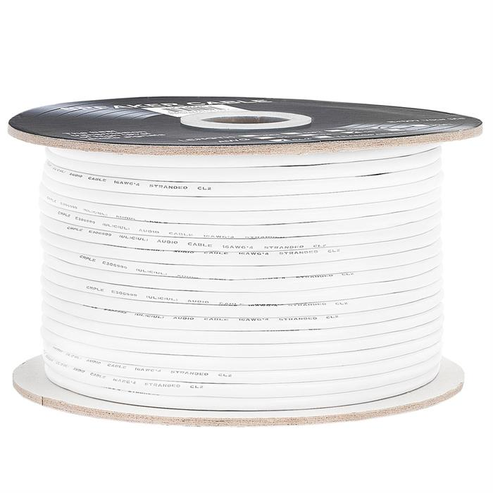 Cmple - 250FT 16AWG Speaker Wire Cable with 4 Conductor Speaker Cable (CCA) Copper Clad Aluminum CL2 Rated In-Wall Speaker Wire for Home Theater & Car Audio - 250 Feet, White