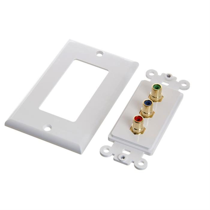 Cmple - 3RCA Wall Plate - Gold Plated RCA 3 RGB Component Video 1080P Full HD Compatible Port/AV Composite Video + 2RCA Stereo Audio Combo Port Insert Jack - White