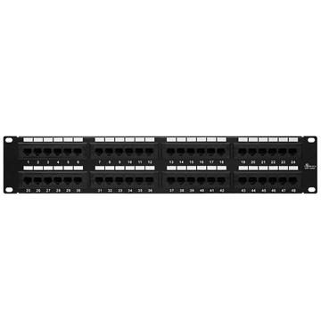 Cmple - 48 Port Cat5e Patch Panel 2U 19 inch Rack or Wall Mount 110 Type Compatible 568A/B Rackmount RJ45 Patch Panel