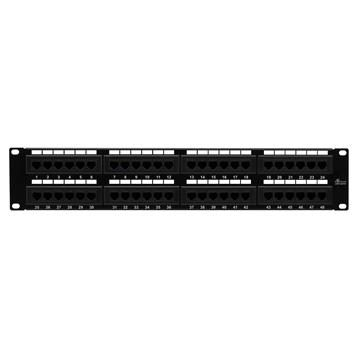 Cmple - 48 Port Cat6 Network Patch Panel, Cat 6 Rackmount Wall Mount Category 6 Bracket Surface 110 Type (568A/568B Compatible